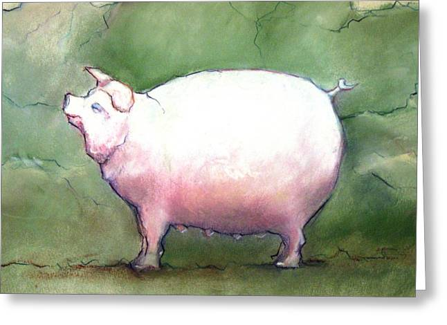 Pigs Pastels Greeting Cards - Contentment Greeting Card by Faith Frykman