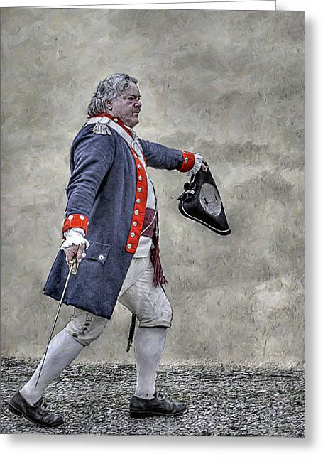 Fort Pitt Greeting Cards - Continental Army Officer with Sword Greeting Card by Randy Steele