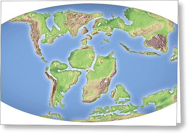 Continent Greeting Cards - Continental Drift, 100 Million Years Ago Greeting Card by Mikkel Juul Jensen