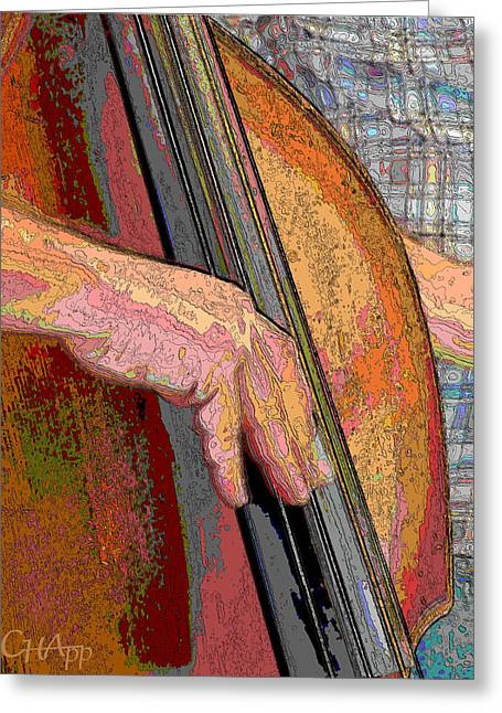 Stand Up Bass Greeting Cards - Contorno bass 2 Greeting Card by C H Apperson