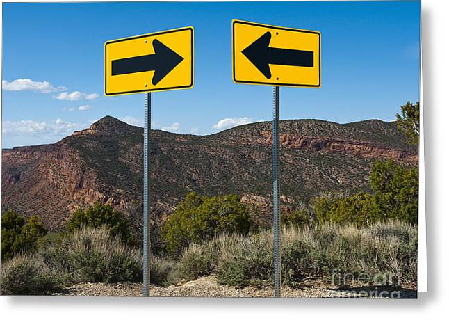 Contradictions Greeting Cards - Contradictory Road Signs Greeting Card by Thom Gourley/Flatbread Images, LLC