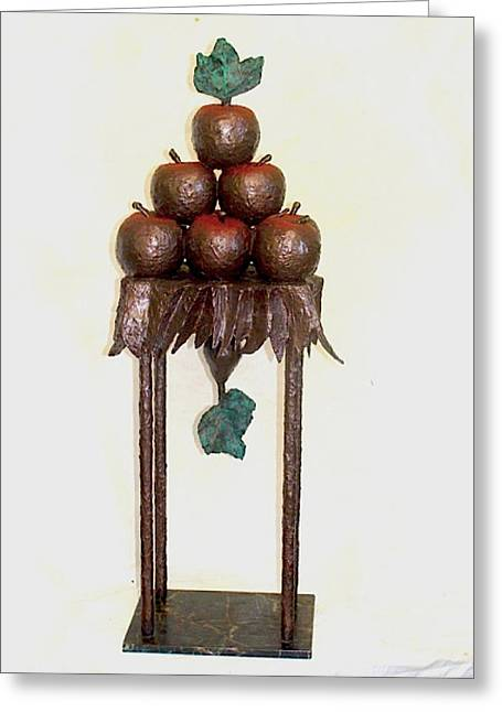 Apple Sculptures Greeting Cards - Contrap Posto Greeting Card by Al Goldfarb