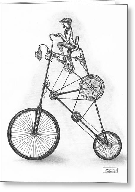 Pen And Ink Drawing Greeting Cards - Contraption Greeting Card by Adam Zebediah Joseph