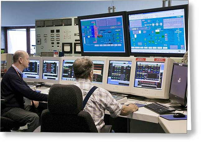 Carbon Emissions Greeting Cards - Control Room, Fawley Power Station, Uk Greeting Card by Paul Rapson