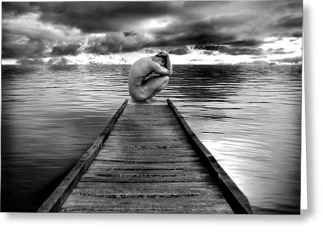 Black And White Nude Photo Greeting Cards - Convergence Greeting Card by Chance Manart