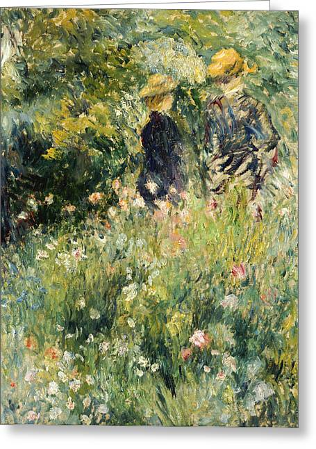 Rose Bushes Greeting Cards - Conversation in a Rose Garden Greeting Card by Pierre Auguste Renoir