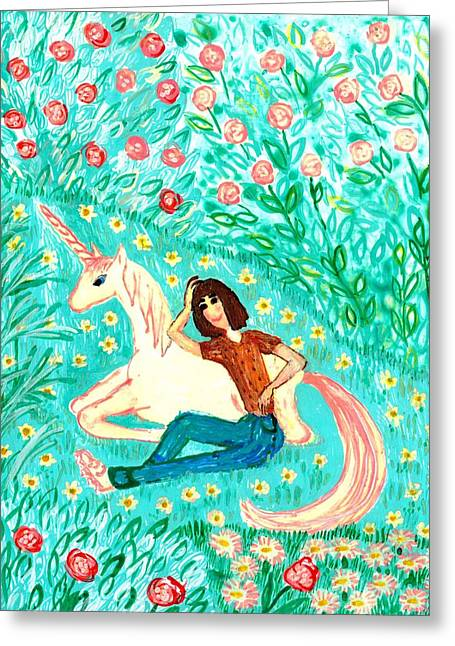 Garden Ceramics Greeting Cards - Conversation with a unicorn Greeting Card by Sushila Burgess