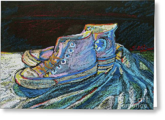 Basketballs Pastels Greeting Cards - Converse-a-tion Greeting Card by Susan Davies