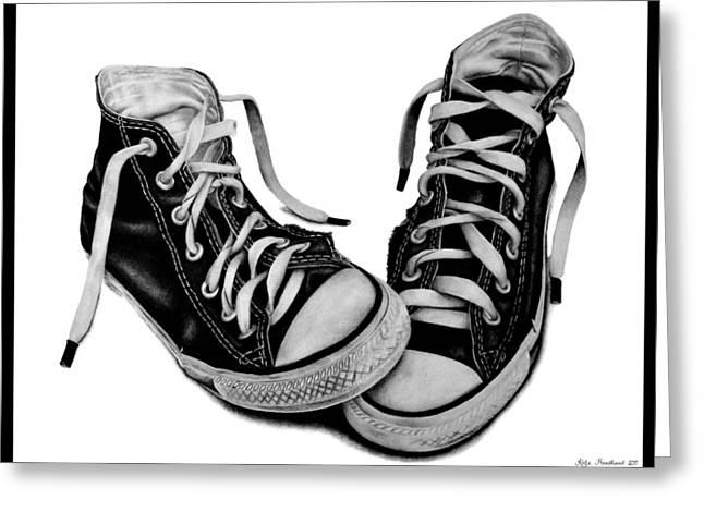 White Sneakers Greeting Cards - Converse Greeting Card by Kalie Hoodhood