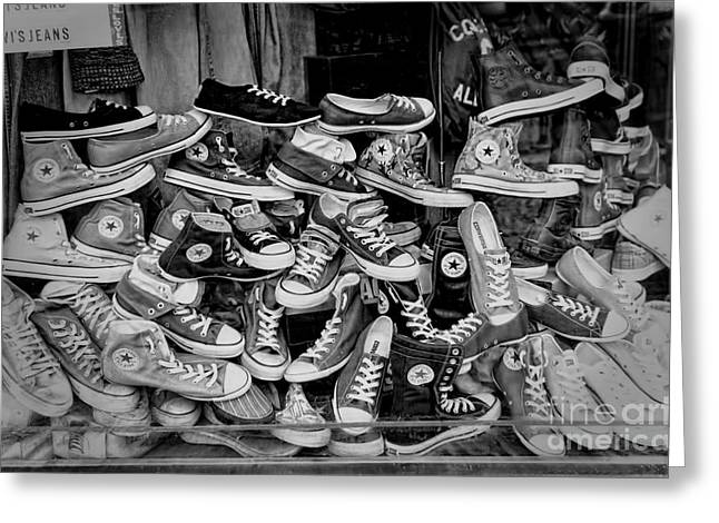 Allstar Greeting Cards - Converse running shoes Greeting Card by Helen  Bobis