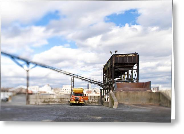Conveyor Belt Greeting Cards - Conveyor and Truck at Sorting Dock Greeting Card by Eddy Joaquim
