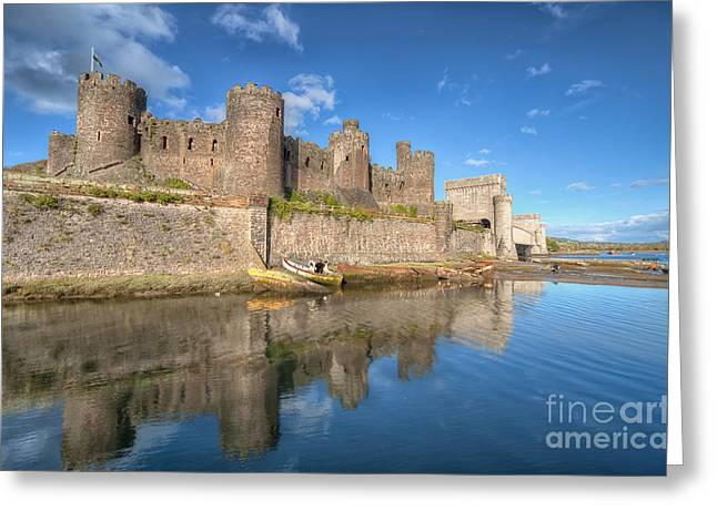 Historic Architecture Digital Art Greeting Cards - Conwy Castle Greeting Card by Adrian Evans