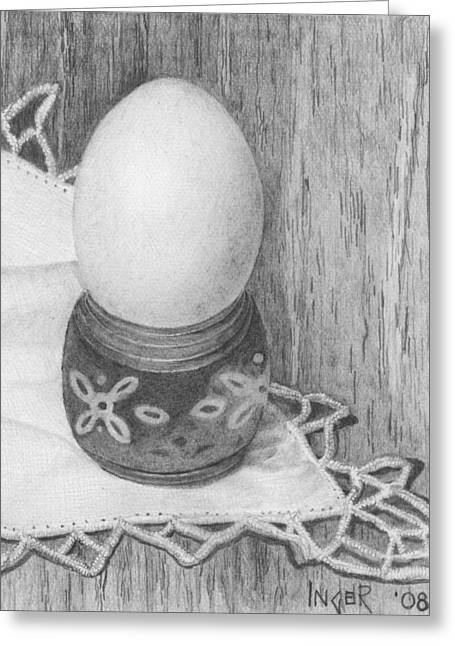 Cooked Egg With Napkin Greeting Card by Inger Hutton