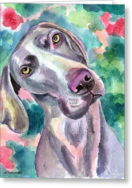 Cookie - Weimaraner Dog Greeting Card by Lyn Cook
