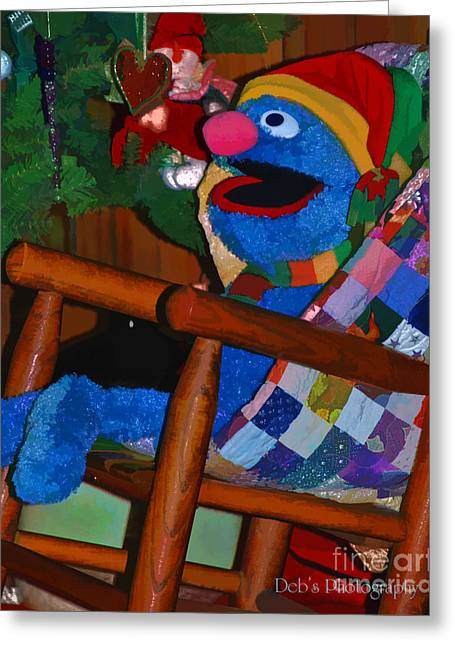 Sesame Street Greeting Cards - Cookie Monster at Christmas Greeting Card by Debra Cutchins