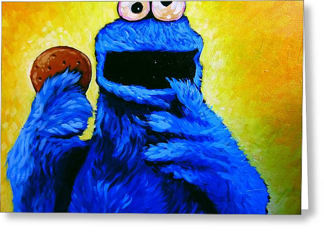 Sesame Street Greeting Cards - Cookie Monster Greeting Card by Steve Hunter