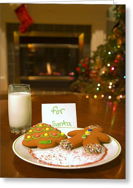 Milk And Cookies Greeting Cards - Cookies For Santa Claus Greeting Card by Carson Ganci