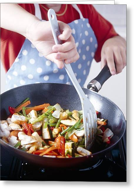 Stir-fry Greeting Cards - Cooking A Stir Fry Greeting Card by Veronique Leplat