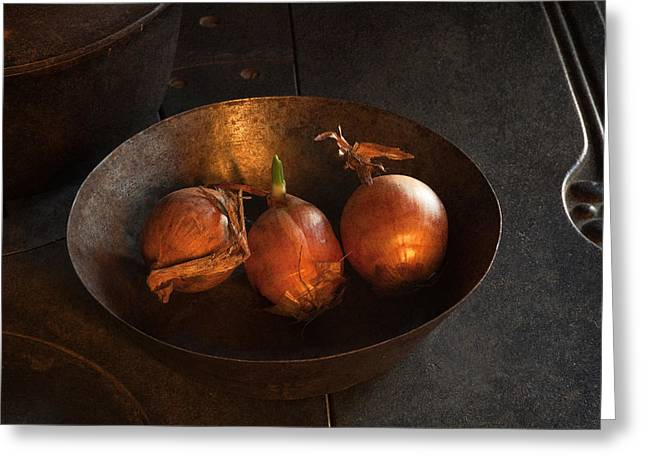 Fries Greeting Cards - Cooking Onions Greeting Card by John Stephens