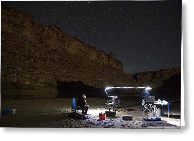 3 Exposure Greeting Cards - Cooking under the Stars Greeting Card by Tim Grams