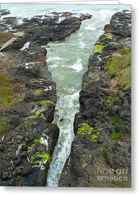 Ocean Art Photos Digital Art Greeting Cards - Cooks Chasm View From Bridge Greeting Card by Methune Hively