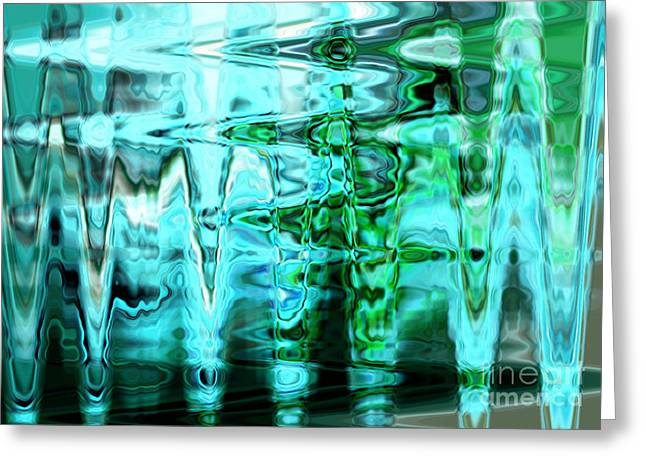 Blue And Green Digital Art Greeting Cards - Cool Abstract Greeting Card by Carol Groenen