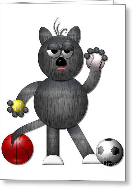 Cool Alley Cat Athlete Greeting Card by Rose Santuci-Sofranko