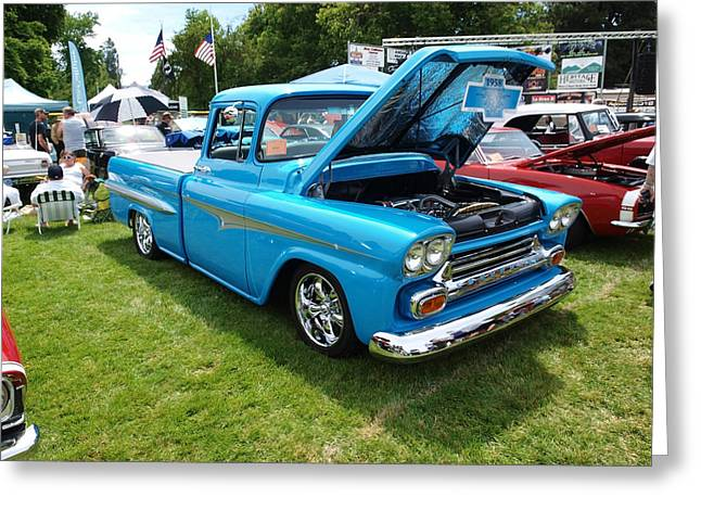 Blue Truck Greeting Cards - Cool Blues Classic Truck Greeting Card by Teri Schuster