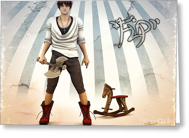 Rocking Horse Digital Greeting Cards - Cool Boy with Cool Toy Greeting Card by Jutta Maria Pusl