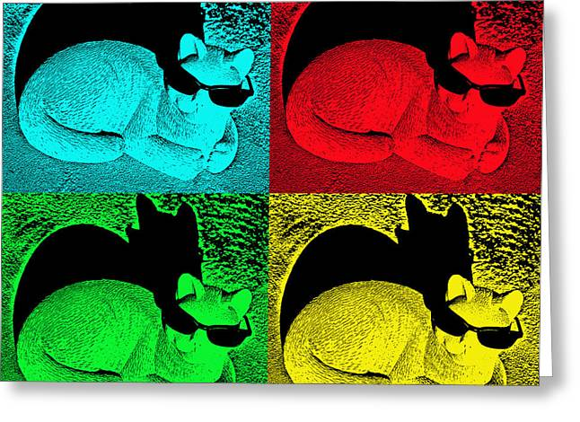 Sunshine Greeting Cards - Cool Cat Pop Art Greeting Card by Aimee L Maher Photography and Art