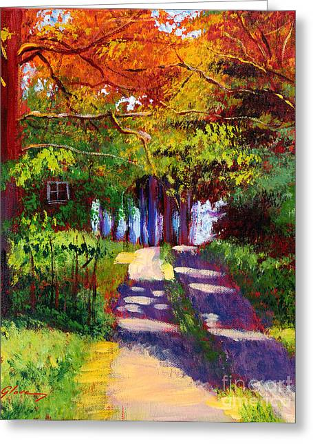 Autumn Landscape Paintings Greeting Cards - Cool Country Land plein air Greeting Card by David Lloyd Glover
