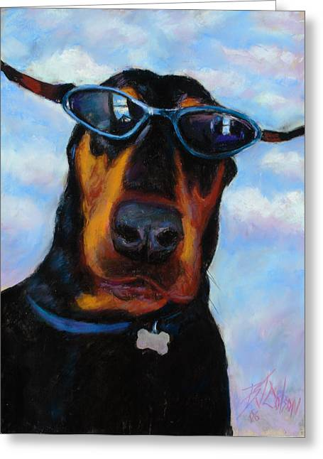 Pet Portraits Pastels Greeting Cards - Cool Dob Greeting Card by Billie Colson