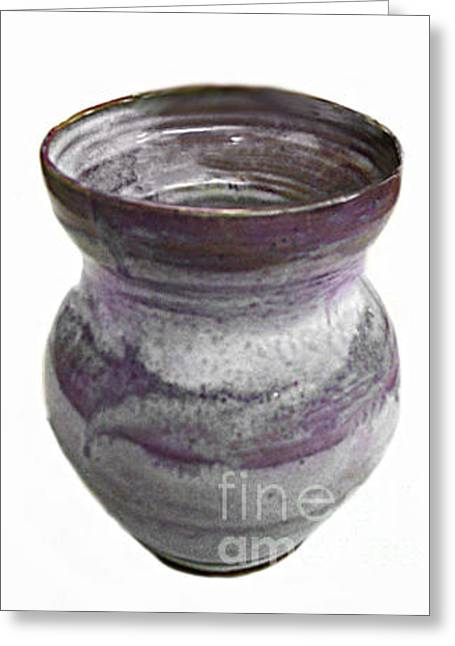 Best Sellers -  - Hand Thrown Pottery Greeting Cards - Cool Hues Vase Greeting Card by Vernon Nix