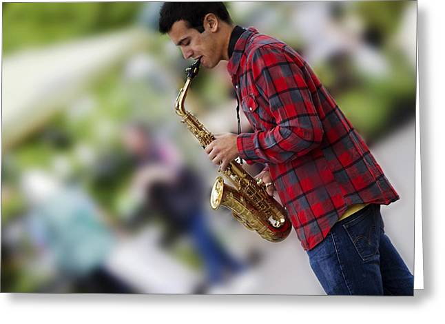 Sax Greeting Cards - Cool Jazz Greeting Card by Rebecca Cozart