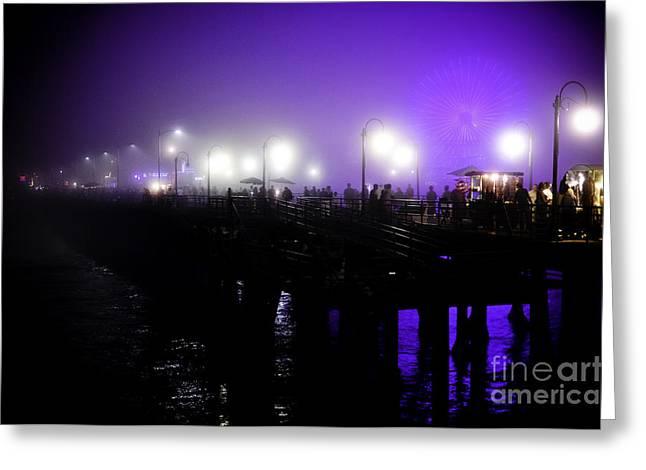 Cool Night At Santa Monica Pier Greeting Card by Clayton Bruster