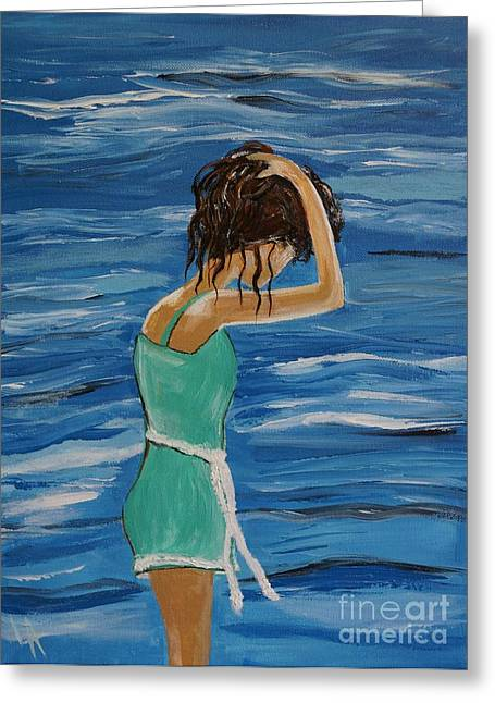 Lady In Pool Greeting Cards - Cool Ocean Breeze Greeting Card by Leslie Allen