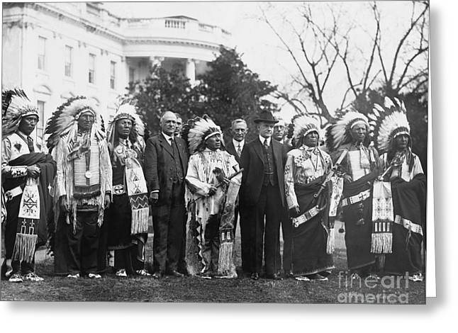 Coolidge With Native Americans Greeting Card by Photo Researchers