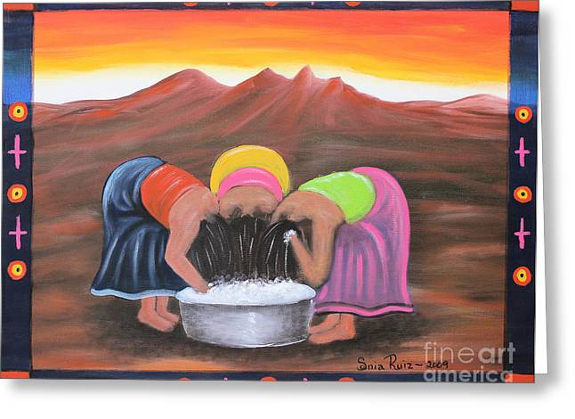Hair-washing Mixed Media Greeting Cards - Cooling Off Greeting Card by Sonia Flores Ruiz