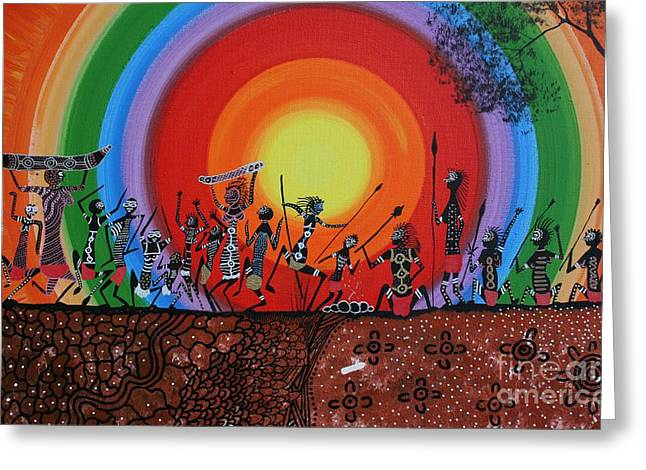 Aboriginal Mixed Media Greeting Cards - Coorobooree Greeting Card by David Dunn