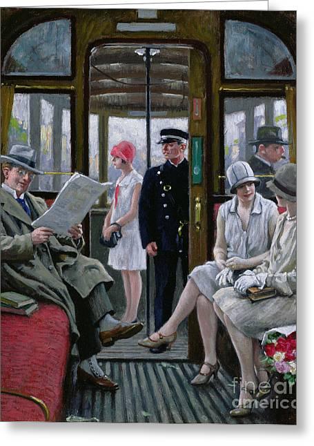 Commute Greeting Cards - Copenhagen Tram Greeting Card by Paul Fischer