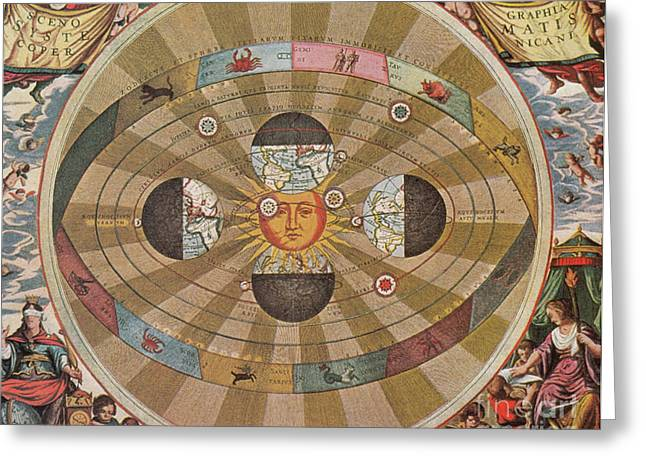 Macrocosmica Greeting Cards - Copernican World System, 17th Century Greeting Card by Science Source