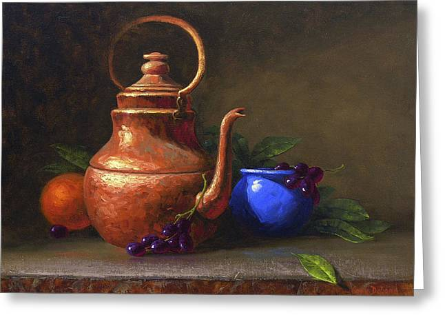 Red And Tea Greeting Cards - Copper and Cobalt Greeting Card by Cody DeLong