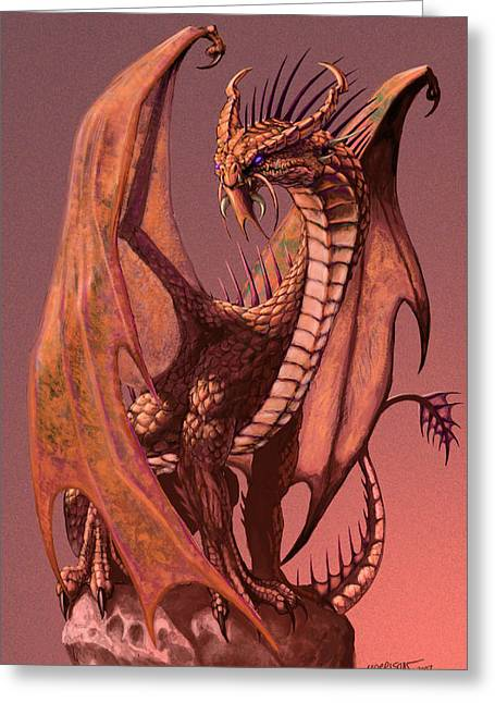 Fantasy Dragon Greeting Cards - Copper Dragon Greeting Card by Stanley Morrison