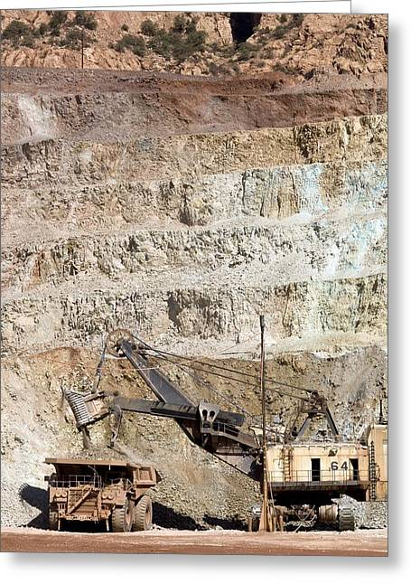 Us Open Photographs Greeting Cards - Copper Mine Excavator And Truck Greeting Card by Arno Massee