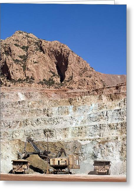 Us Open Photographs Greeting Cards - Copper Mine Excavator And Trucks Greeting Card by Arno Massee
