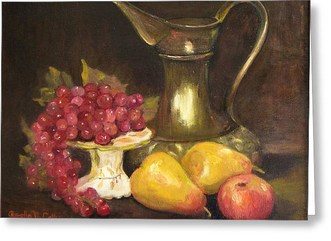 Copper Pitcher With Fruit Greeting Card by Aurelia Nieves-Callwood