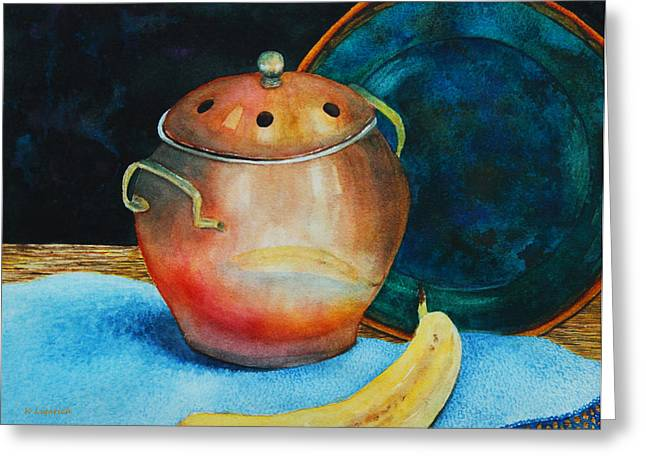Stoneware Paintings Greeting Cards - Copper Reflection Greeting Card by Kerri Ligatich