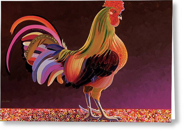 Reality Mixed Media Greeting Cards - Copper Rooster Greeting Card by Bob Coonts