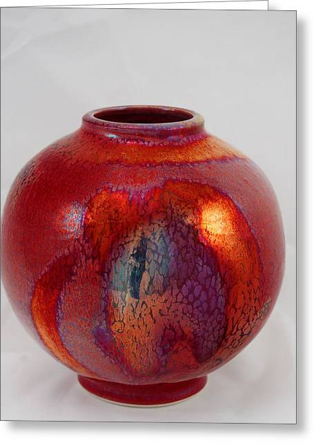 Pottery Ceramics Greeting Cards - Copper Ruby Vase Greeting Card by Gordon Hutchens