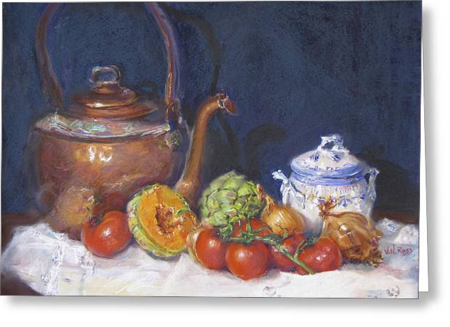 Jugs Pastels Greeting Cards - Copper Still Life Greeting Card by Vicki Ross